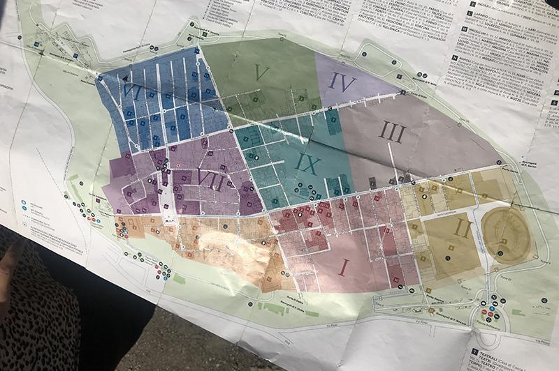 Bezoek aan Pompeï - kaart